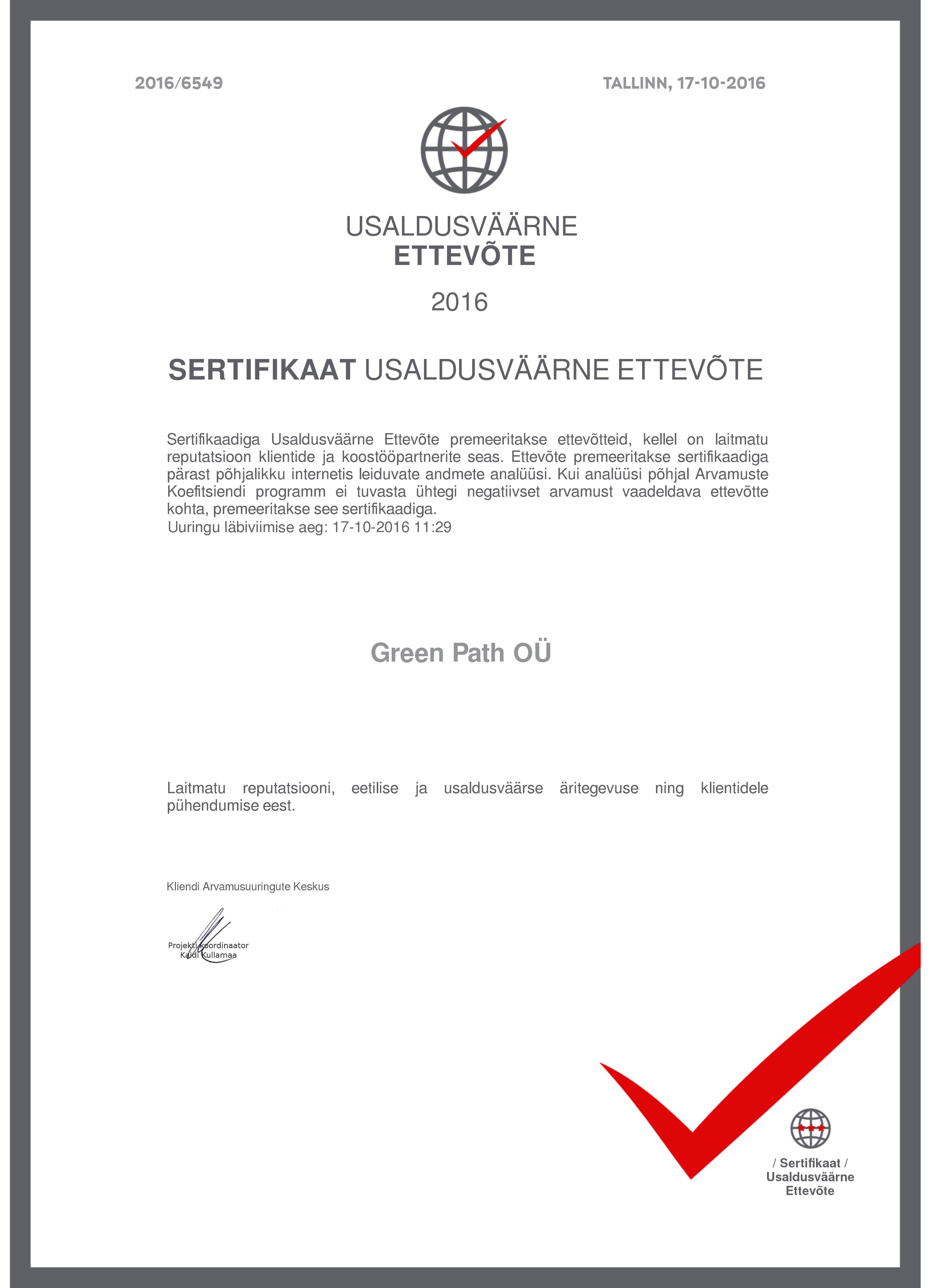 Sertifikaat Usaldusväärne Ettevõte GREEN PATH OÜ