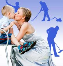 Suurpuhastus ja ema koos lapsega