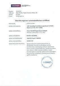 Puhastus firma vastutuskindlustuse sertifikaat